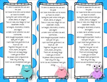 Back to School Poem/Tag/Bookmark--Monster Polka-dot Themed