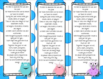 Back to School Poem/Tag/Bookmark--Monster Polka-dot Themed