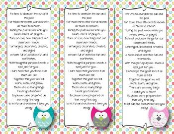 Back to School Poem/Tag/Bookmark--Owl Polka-Dot Themed