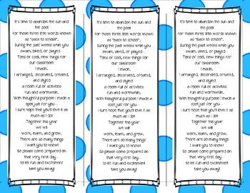 Back to School Poem/Tag/Bookmark--Polka-dot Themed