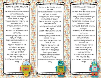Back to School Poem/Tag/Bookmark--Robot Themed