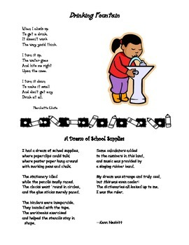 Back to School Poems: Drinking Fountain & School Supplies