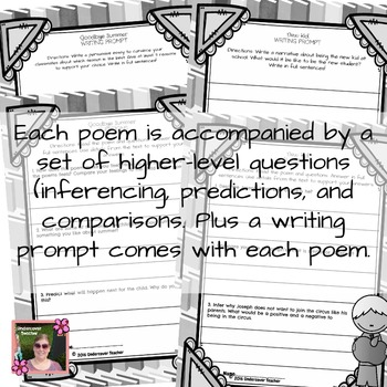 Back to School Poems Poetry Unit with Inferencing Questions + Writing Prompts