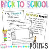 Back to School Poems, Beginning of the Year Poems, First Week Day of School