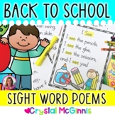 Back to School Poems for Shared Reading (sight word poems)