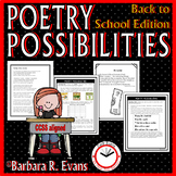 POETRY UNIT: Back to School Activities, Poetry Forms, Poetry Elements, Writing