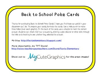 Back to School Poke Cards