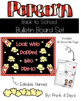 Back to School Popcorn Bulletin Board Set-Editable