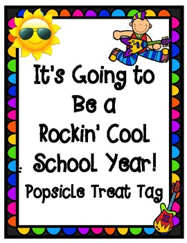 Back to School Popsicle Treat Tag with Rock Star Theme