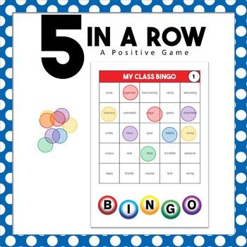 Back to School 5 in a Row Positive Bingo