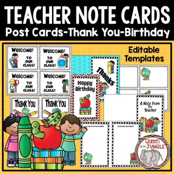 Back to School: Teacher Post Cards and Note Cards School Kids Theme Editable