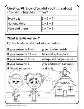 Back to School Postcard Math Goofy Glyph (1st grade Common Core)
