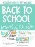 Back to School Postcards K-5 Editable