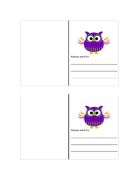 Back to School Postcards: Owl Baseball Theme