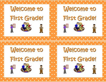 Back to School Postcards- Welcome to Kindergarten, First or Second Grade