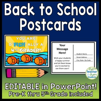 EDITABLE Back to School Postcards (You Are o'FISH'ally in Pre-K - 5th)