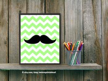 Lime Green Mustache Poster, Chevron Classroom Decor Poster