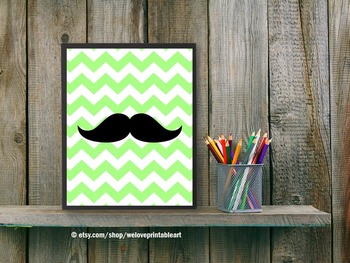 Chevron Classroom Decor Mustache Green and Black Poster De