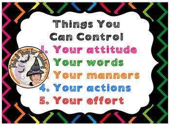 Back to School Poster Counseling Things You Can Control