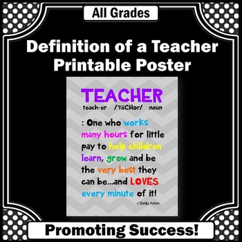 End of the Year Teacher Gift, Appreciation Week, Printable Poster