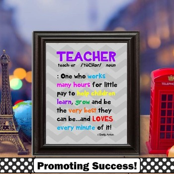 Teacher Definition Quote Poster for Teacher Appreciation W