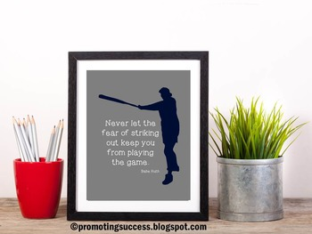 Babe Ruth Quote ~ Baseball Theme Classroom Decor PE Poster