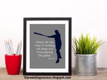 Babe Ruth Quote ~ Baseball Theme Classroom PE Locker Room