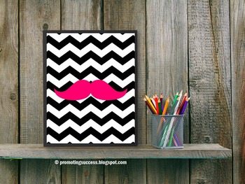 Hot Pink Chevron Classroom Decor, Mustache Theme Back to School Decoration