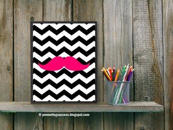 Mustache Chevron Classroom Decor Hot Pink and Black Poster