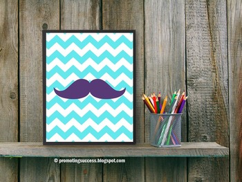 Chevron Mustache Decor, Aqua and Purple, Classroom Poster 8x10 16x20