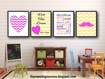 Pink and Yellow Classroom Decor, Mustache and Heart Theme Posters
