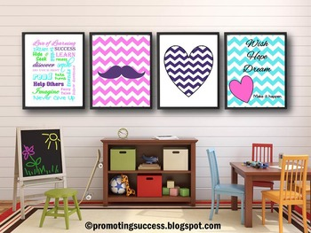 Mustache and Chevron Classroom Decor BUNDLE, Heart Theme Classroom Posters