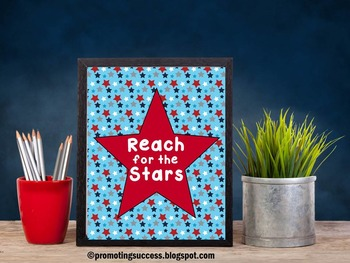 Reach for the Stars Inspirational Quote Red White and Blue Classroom Decor