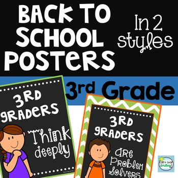 Back to School Posters 3rd Grade