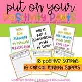 Positivity Quotes with Common Core Thinking Questions
