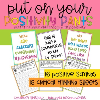 Back to School Postivity Quotes with Common Core Thinking