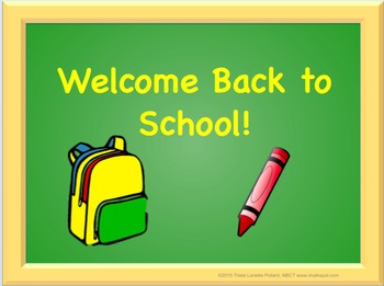 Back to School Editable Power Point (Green Board)