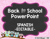 Back to School PowerPoint - Owl {SPANISH}