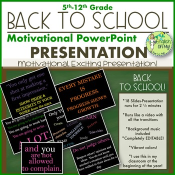 Back to School PowerPoint Slide Show-Motivational by English Oh My