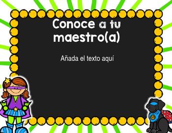 Back to School PowerPoint - SuperHero {SPANISH}