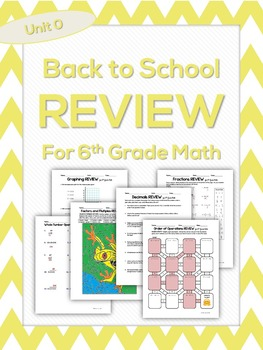 Back to School Practice Pages for 6th Grade Math
