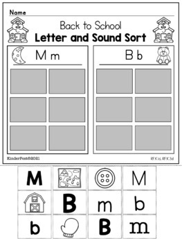 Back to School! Practice Sheets for Kindergarten ELA & Math Common Core Aligned