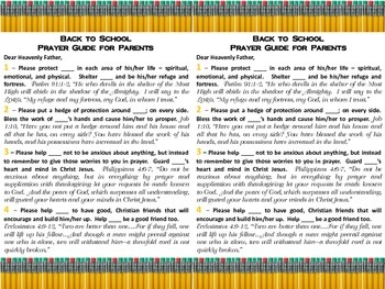 Back to School Prayer Guide for Parents