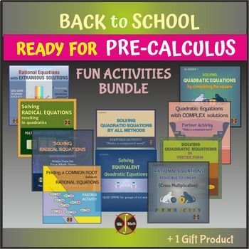 Back to School - Ready for PRECALCULUS - Fun Activities Equations BUNDLE