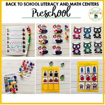 Back to School PreK Math and Literacy Centers and Fine Motor Activities Age 3+