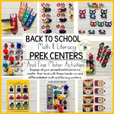 Back to School PreK Math and Literacy Centers and Fine Mot