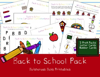 Back to School PreK Printable Learning Pack Bundle