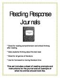 Back to School Prep Reading Response Journals