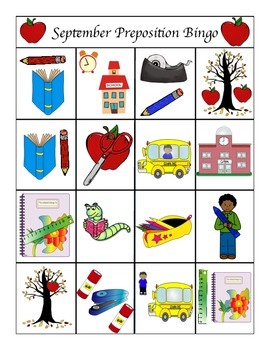 Back to School Preposition Bingo