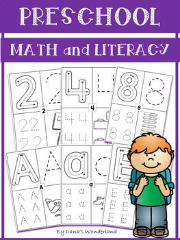 Beginning of Preschool Handwriting Practice: Numbers and Letters